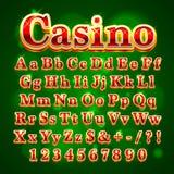 Casino golden english alphabet font. Stock Photography