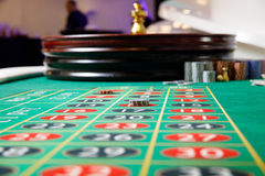 Casino green table tokens. Roulette Royalty Free Stock Image