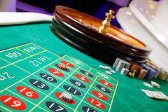 Casino green table tokens. Roulette Royalty Free Stock Photo