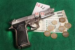 Casino and gun Royalty Free Stock Image