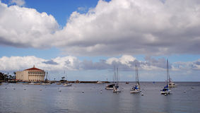 Casino and Harbor. Casino at Avalon Harbor on Santa Catalina Island royalty free stock image