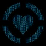 Casino Hearts Composition Icon of Halftone Bubbles. Halftone Casino hearts collage icon of circle bubbles in blue color tints on a black background. Vector royalty free illustration