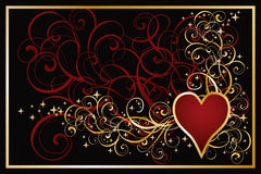 Casino hearts golden card Stock Image