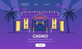 Casino het Gokken Buitenkant van Huis de Gouden Neonlichten royalty-vrije illustratie