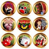 casino of het gokken geplaatste pictogrammen stock illustratie