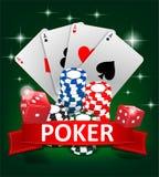 Casino het Gokken Pook achtergrondontwerp De pookbanner met spaanders, speelkaarten en dobbelt Online Casinobanner op groen vector illustratie