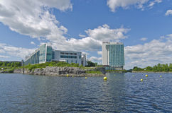 Casino, Hilton Lac-Leamy Gatineau, Quebec, Canada. Lake view of the Casino and the Hilton Lac-Leamy Hotel on Lake Leamy, Gatineau, Quebec, Canada on a sunny day Royalty Free Stock Images