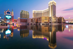 Casino Hotel macau. Reflection of The Venetian Casino Hotel macau Royalty Free Stock Images