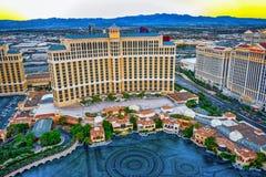 Casino, hotel and resort-Bellagio. Las Vegas. Las Vegas, Nevada, USA - September 17, 2018: Main street of Las Vegas-is the Strip in evening time. Casino, hotel royalty free stock image
