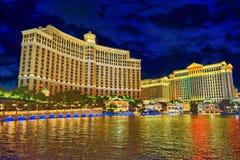Casino, hotel and resort-Bellagio. Las Vegas. Las Vegas, Nevada, USA - September 15, 2018: Main street of Las Vegas-is the Strip in evening time. Casino, hotel stock photography