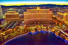 Casino, hotel and resort-Bellagio. Las Vegas. Las Vegas, Nevada, USA - September 17, 2018: Main street of Las Vegas-is the Strip in evening . Casino, hotel and stock photography