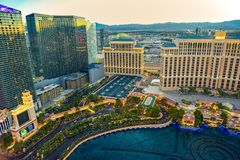 Casino, hotel and resort-Bellagio. Las Vegas. Las Vegas, Nevada, USA - September 17, 2018: Main street of Las Vegas-is the Strip in evening time. Casino, hotel stock image