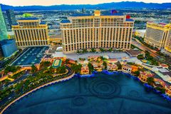 Casino, hotel and resort-Bellagio. Las Vegas. Las Vegas, Nevada, USA - September 17, 2018: Main street of Las Vegas-is the Strip in evening time. Casino, hotel royalty free stock images