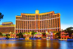 Casino, hotel and resort-Bellagio. Las Vegas. Las Vegas, Nevada, USA - September 17, 2018: Main street of Las Vegas-is the Strip in evening time. Casino, hotel royalty free stock photography