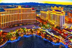 Casino, hotel and resort-Bellagio. Las Vegas. Las Vegas, Nevada, USA - September 17, 2018: Main street of Las Vegas-is the Strip in evening time. Casino, hotel stock photo
