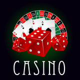 Casino icon with aces, dice and roulette wheel Stock Photo