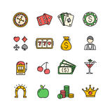 Casino Icon Color Set. Vector Royalty Free Stock Image