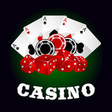 Casino icon with dice, chips and poker aces Stock Photos