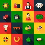 Casino Icon Flat. Casino game of chance money play icon flat set isolated vector illustration Stock Photography