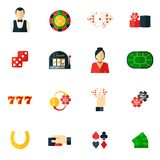 Casino Icon Flat. Set with roulette dice money isolated vector illustration Stock Photography