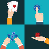 Casino icon with hands. Flat. Stock Photography