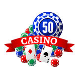 Casino icon with playing chips, cards and ribbon Royalty Free Stock Image