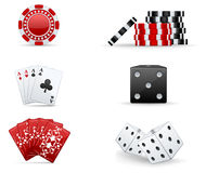 Casino icon set. Red and black casino icons: chips, dices, cards Stock Photos