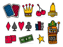 Casino icon set / Chance betting games objects Royalty Free Stock Photo