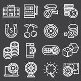 Casino icon set. Vector outline pictograms stock illustration