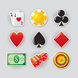 Casino icons. Gambling icon set for online casino or entertainment site Royalty Free Stock Photo