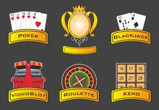 Casino icons. Vector set of icons for casino games Royalty Free Stock Photos