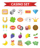 Casino icons, flat style. Gambling set isolated on a white background. Poker, card games, one-armed bandit, roulette Stock Images