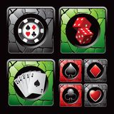 Casino icons and items on cracked web buttons Royalty Free Stock Image