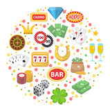 Casino icons in round shape flat style. Gambling set  on a white background. Poker, card games, one-armed bandit Royalty Free Stock Photography
