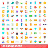 100 casino icons set, cartoon style. 100 casino icons set in cartoon style for any design vector illustration Royalty Free Stock Image