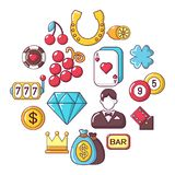 Casino icons set, cartoon style. Casino icons set. Cartoon illustration of 16 casino vector icons for web stock illustration