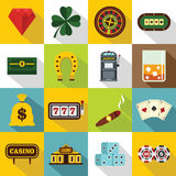 Casino icons set, flat style Royalty Free Stock Photography