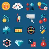 Casino Icons Set. Casino game of fortune gambling and roulette icons set isolated vector illustration Royalty Free Stock Image