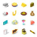 Casino icons set, isometric style Stock Images
