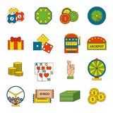 Casino icons set with roulette gambler joker slot machine isolated vector illustration. Stock Photos