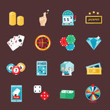 Casino icons set with roulette gambler joker slot machine  vector illustration. Stock Image