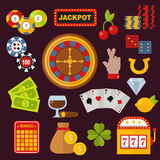 Casino icons set with roulette gambler joker slot machine  on white vector illustration. Royalty Free Stock Photos