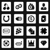 Casino icons set, simple style. Casino icons set. Simple illustration of 16 casino vector icons for web Stock Images