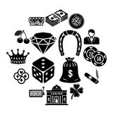 Casino icons set, simple style. Casino icons set. Simple illustration of 16 casino vector icons for web royalty free illustration