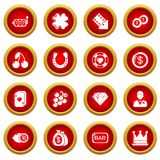 Casino icons set, simple style. Casino icons set. Simple illustration of 16 casino vector icons for web stock illustration