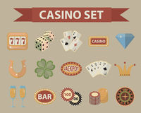 Casino icons, vintage style. Gambling set  on a white background. Poker, card games, one-armed bandit, roulette Stock Images