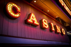 Casino. Illuminated sign outside casino after dark Stock Image