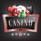 Casino  illustration with ornate frame, card symbols, playing cards and dice Stock Photography
