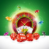 Casino Illustration with roulette wheel and playing chips on green background. Vector gambling design for invitation or. Promo banner with dice Royalty Free Stock Photo