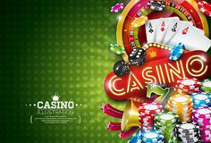 Casino Illustration with roulette wheel and playing chips on green background. Vector gambling design with poker cards. And dices for party poster, greeting Stock Images
